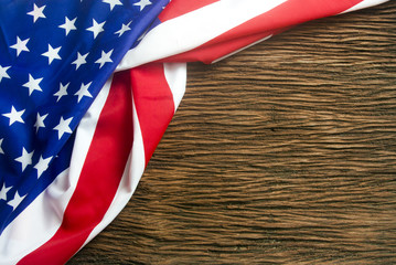 america flag on wood background with the 4th of july concept