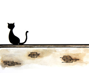 Hand drawn of cute black cat sitting on wall with place for text