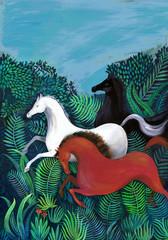 Wild horses galloping