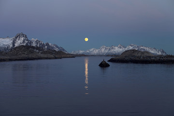 Moonlight over the ocean in Norway Lofoten