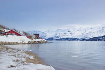 snow mountain sea winter landscape in norway