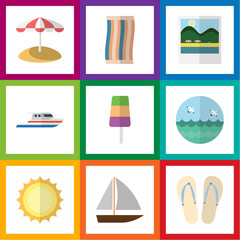 Flat Icon Season Set Of Sundae, Boat, Wiper And Other Vector Objects. Also Includes Sandals, Ship, Towel Elements.