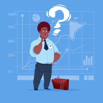 African American Business Man With Question Mark Pondering Problem Concept Flat Vector Illustration