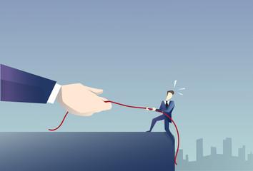 Businessman Walk In Cliff Gap Holding Rope Business Man Risking Flat Vector Illustration