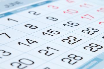 Days of the calendar.