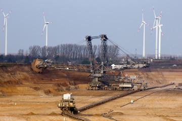 Bucket wheel mining excavator in a brown coal open-pit mine.