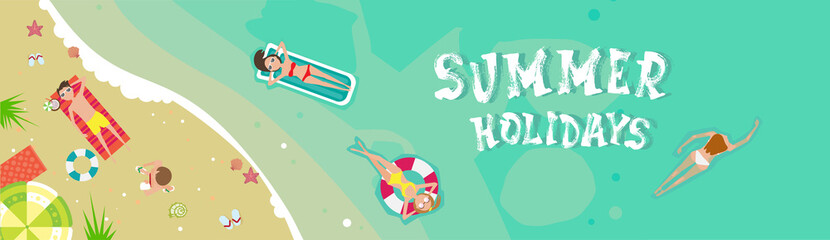 Summer Beach Vacation Seaside Sand Tropical Holiday Banner Flat Vector Illustration
