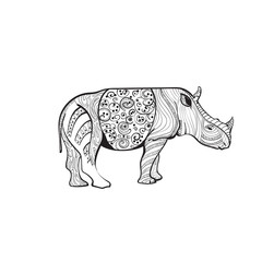 Rhino Drawing Zentangle Animal Full Length On White Background Vector Illustration
