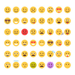 Yellow Cartoon Face Set Emoji People Different Emotion Icon Collection Flat Vector Illustration