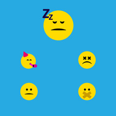 Flat Icon Expression Set Of Asleep, Party Time Emoticon, Displeased And Other Vector Objects. Also Includes Displeased, Sleeping, Mood Elements.