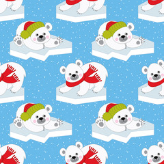 Vector Christmas and New Year Seamless Pattern with Polar Bears. Vector Baby Polar Bear.