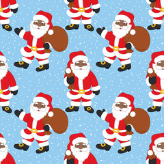 Vector Christmas and New Year Seamless Pattern with African American Santa Claus. Vector African American Santa Claus.