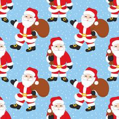 Vector Christmas and New Year Seamless Pattern with Santa Claus. Vector Santa Claus.
