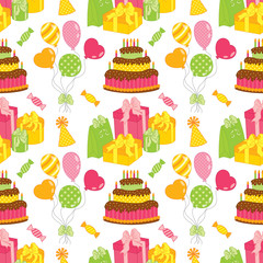 Vector Seamless Pattern with Cake, Balloons, Sweets and Gift Boxes. Seamless Pattern for Birthday and Party.