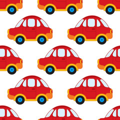 Vector Seamless Pattern with Cartoon Cars. Vector Boy's Toy Car. Car Seamless Pattern Vector Illustration.