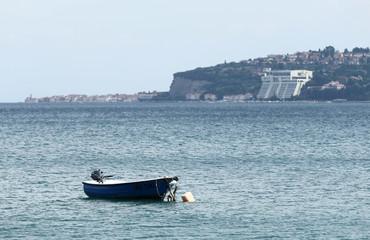 A boat is seen at Piran/Savudrija bay in Kanegra