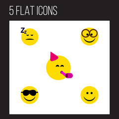 Flat Icon Gesture Set Of Asleep, Pleasant, Joy And Other Vector Objects. Also Includes Sunglasses, Fun, Face Elements.
