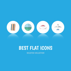 Flat Icon Season Set Of Aircraft, Wiper, Ocean And Other Vector Objects. Also Includes Recliner, Beach, Cloth Elements.