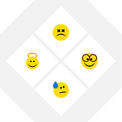 Flat Icon Expression Set Of Angel, Tears, Cross-Eyed Face And Other Vector Objects. Also Includes Emoticon, Sad, Angel Elements.