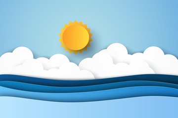 Seascape , blue sea , paper art style