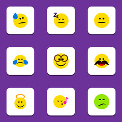 Flat Icon Face Set Of Cold Sweat, Frown, Angel And Other Vector Objects. Also Includes Eyeglasses, Displeased, Tears Elements.