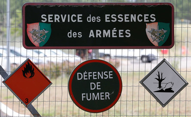 Danger signs are pictured at the French Air Force base in Mont-de-Marsan, southwestern France