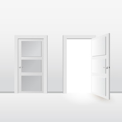 White doors closed and open. Isolated on gray background. Vector illustration in flat style design.
