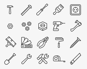 Repair Tools Minimal Flat Line Outline Stroke Icon Pictogram Symbol Set Collection. Hammer, Screwdriver, Nut, Paint Brush, Drill, Axe, Pliers, Roller, Wrench, Saw, Measure Tape