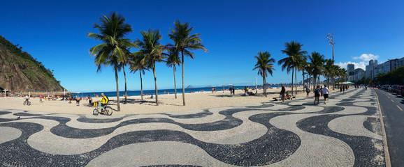 Foto op Canvas Rio de Janeiro Copacabana, Rio de Janeiro, Brazil - June 25, 2017 - Panoramic view of Copacana with its famous geometric boardwalk in summer day