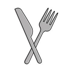 fork cutlery with knife vector illustration design