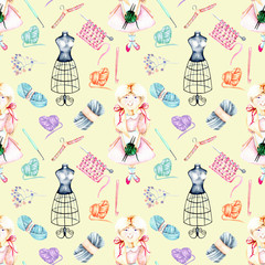 Seamless pattern with watercolor cute Girl-needlewoman and knitting elements: yarn, knitting needles and crochet hooks, hand painted isolated on a beige background