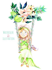 Watercolor illustration of a Girl swinging on a swing from flower bouquet, hand painted isolated on a white background