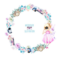 Wreath of watercolor Girl-photographer, retro cameras and floral elements, hand painted isolated on a white background