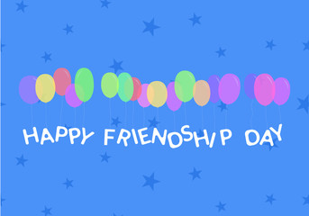 Vector illustration card with colorful balloons for friendship day.