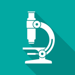 Microscope icon with long shadow. Flat design style. Microscope simple silhouette. Modern, minimalist icon in stylish colors. Web site page and mobile app design vector element.