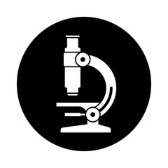 Microscope circle icon. Black, round, minimalist icon isolated on white background. Microscope simple silhouette. Web site page and mobile app design vector element.