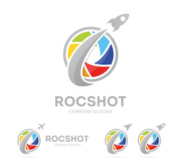 rocket and camera shutter logo combination. Airplane and photography symbol or icon. Unique photo and lens logotype design template.
