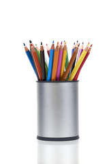 Holder With Colored Pencils For Artwork, Over White Background