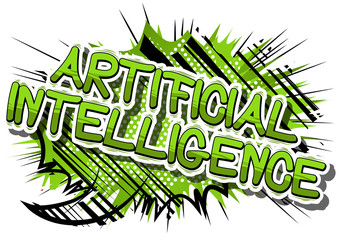 Artificial Intelligence - Comic book style word on abstract background.