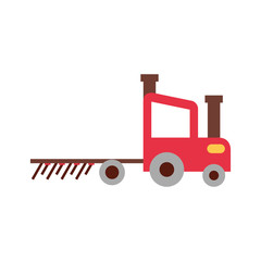 tractor farm with rake vector illustration design
