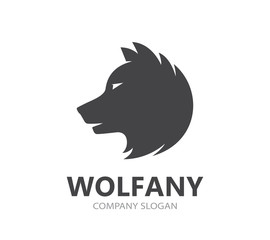 wolf and predator logo combination. Beast and dog symbol or icon. Unique wildlife and hunter logotype design template.
