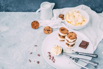 Homemade Chocolate chip ice cream cookies