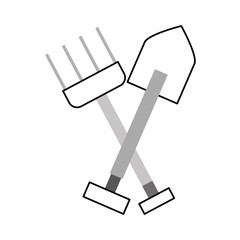 farm rake with shovel vector illustration design