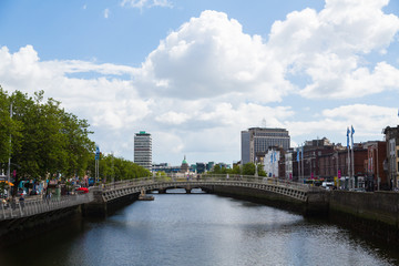 A view along the quays in Dublin City, Ireland