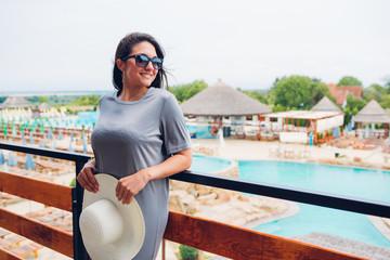 Woman looking at the resort