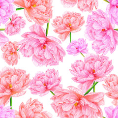 Watercolor pink peony. Seamless pattern. Botanical art. Template for a business card, banner, poster, flyer, notebook, cosmetics, perfume, greeting card or wedding invitation