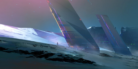 painted landscape of the future on an alien planet