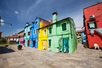 Colorful houses of Burano island / small village near the Venice.