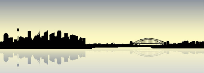 Skyline silhouette of the city of Sydney, New South Wales, Australia,