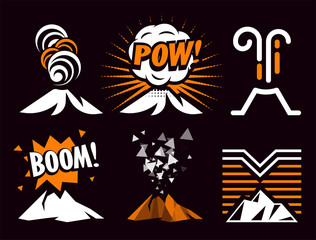 Volcano magma eruptio icon collection. Spectacular natural phenomenon painted in cartoon style set. Volcanic toxic clouds and mountain logo. Graphic anger metaphor illustration.